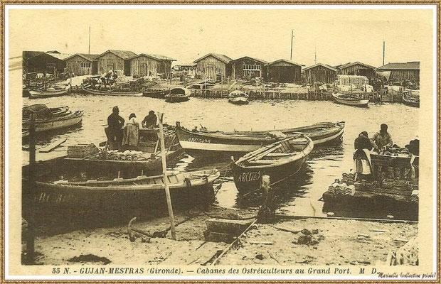 Gujan-Mestras autrefois : vers 1910, détrocage des tuiles sur les chalands dans la darse principale du Port de Larros, Bassin d'Arcachon (carte postale, collection privée)