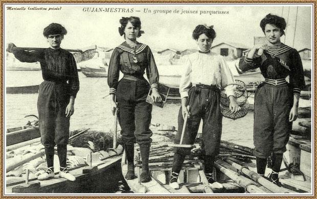 Gujan-Mestras autrefois : années 1900, groupe de parqueuses, Bassin d'Arcachon (carte postale, collection privée)