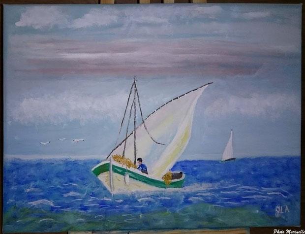"""JLA Artiste Peintre - """"Pinassotte revenant de la pêche"""" 050 - Peinture sur toile (1ère version)"""
