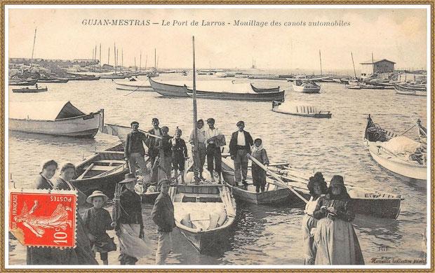 Gujan-Mestras autrefois : vers 1910, mouillage des canots automobiles darse principale du Port de Larros, Bassin d'Arcachon (carte postale, collection privée)