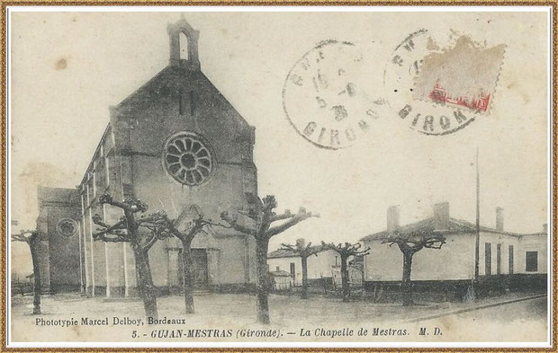 Gujan-Mestras autrefois : La Chapelle Saint Michel (timbre 1931), Bassin d'Arcachon (carte postale, collection privée)