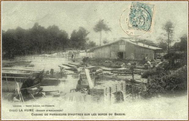 Gujan-Mestras autrefois : vers 1904, une cabane de parqueurs au Port de La Hume, Bassin d'Arcachon (carte postale, collection privée)