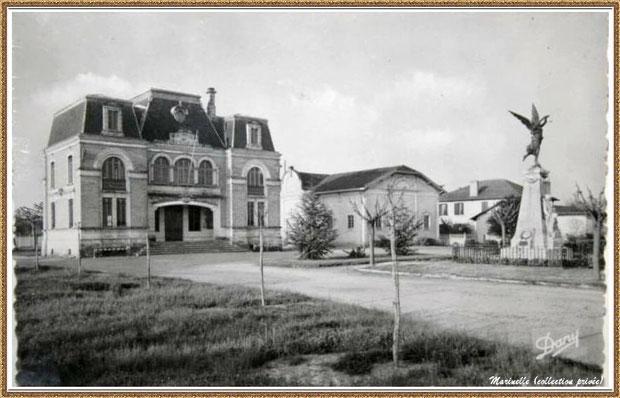 Gujan-Mestras autrefois : la Mairie, la Salle des Fêtes, l'ancienne Ecole Pasteur (avant modernisation, le Monument aux Morts, Bassin d'Arcachon (carte postale, collection privée)