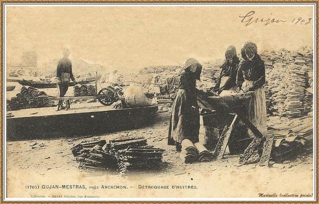 Gujan-Mestras autrefois : en 1903, détrocage des tuiles, Bassin d'Arcachon (carte postale, collection privée)