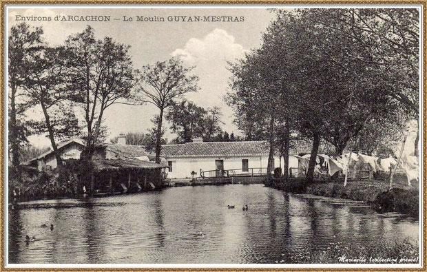 """Gujan-Mestras autrefois : en 1908, le Moulin à eau Daney et le lavoir au lieu-dit """"Bruge"""" , Bassin d'Arcachon (carte postale, collection privée) - autre version"""