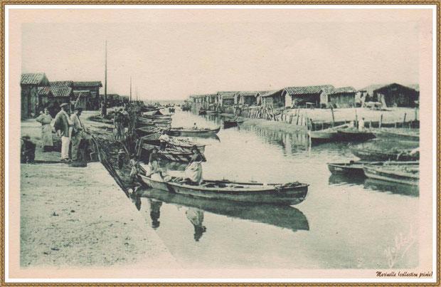 Gujan-Mestras autrefois : Port du Canal et arrivée des pinassottes, Bassin d'Arcachon (carte postale, collection privée)