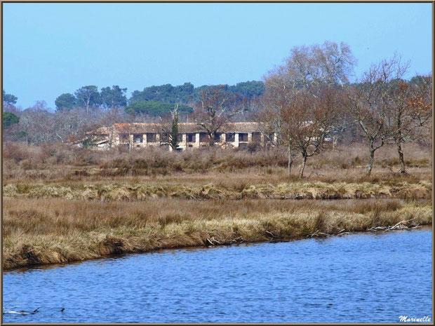 Bâtisse de Graveyron en bordure des réservoirs, Sentier du Littoral, secteur Domaine de Certes et Graveyron, Bassin d'Arcachon (33)