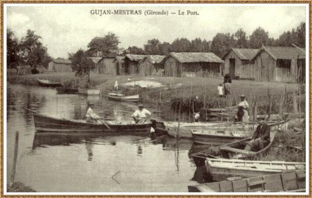 Gujan-Mestras autrefois : Port de La Hume, cabanes de parqueurs et pinassottes, Bassin d'Arcachon (carte postale, collection privée)