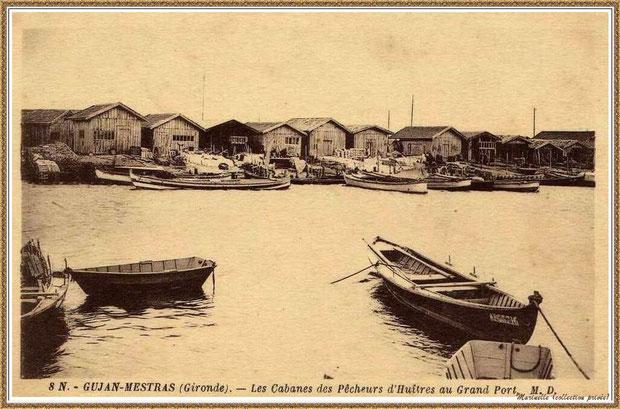 Gujan-Mestras autrefois : Port de Larros, darse principale avec cabane et pinassottes, Bassin d'Arcachon (carte postale, collection privée)