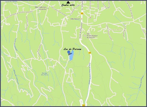Plan de situation du lac de Peiroou à Saint Rémy de Provence, Alpilles (13) - plan agrandissable en cliquant dessus