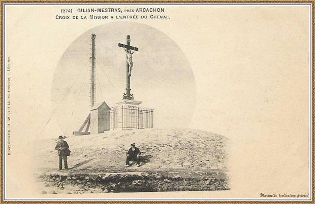 Gujan-Mestras autrefois : en 1900, la Jetée du Christ et son phare, Port de Larros, Bassin d'Arcachon (carte postale, collection privée)