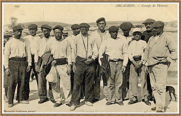 Groupe de pêcheurs, Bassin d'Arcachon (33)