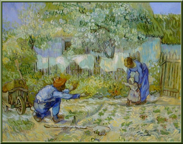 """Tableau """"Les premiers pas"""" (d'après Millet) de Van Gogh dans le jardin du monastère de Saint Paul de Mausole à Saint Rémy de Provence (Alpilles - 13)"""