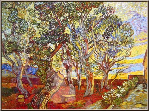 """Tableau """"Le jardin de l'hôpital St Paul"""" (1889) de Van Gogh dans le jardin du monastère de Saint Paul de Mausole à Saint Rémy de Provence (Alpilles - 13)"""