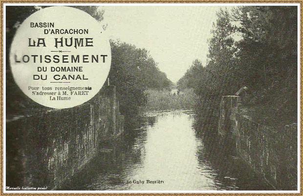 Gujan-Mestras autrefois : La Hume, en 1928, projet d'un lotissemment sur la propriété de Mr Faret, Bassin d'Arcachon (carte postale, collection privée)