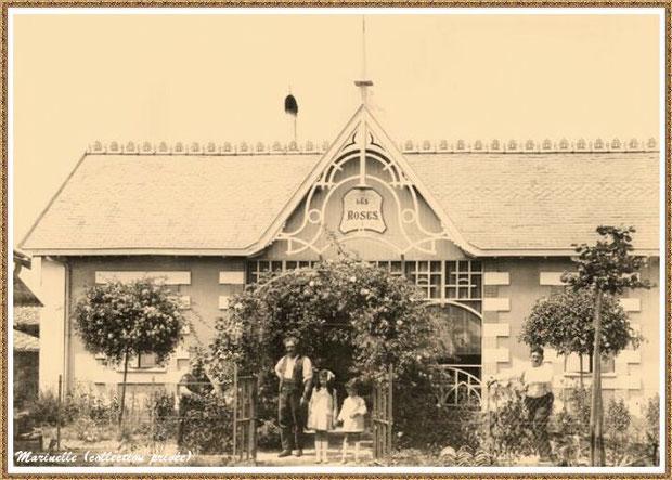"""Gujan-Mestras autrefois : Pose devant la villa """"Les Roses"""", Bassin d'Arcachon (carte postale, collection privée)"""