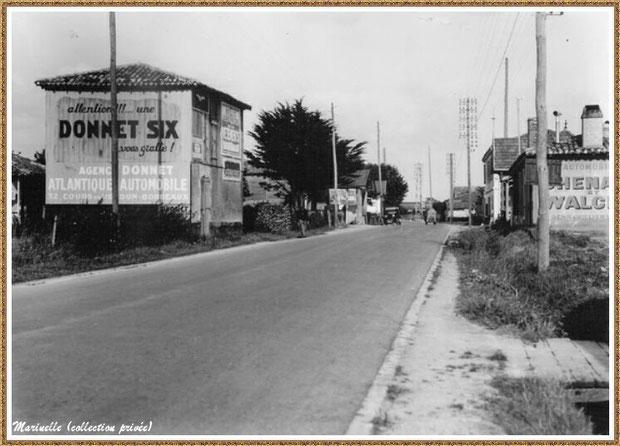 Gujan-Mestras autrefois : le Cours de Verdun à l'entrée de Gujan (en venant d'Arcachon), Bassin d'Arcachon (carte postale, collection privée)