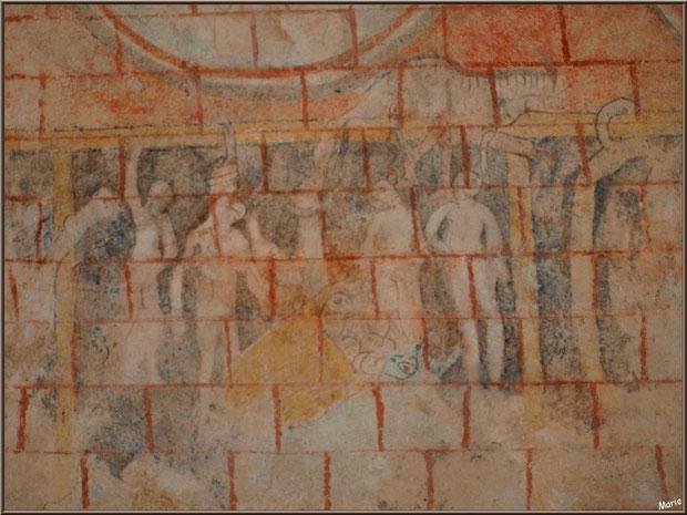 Eglise St Michel du Vieux Lugo à Lugos (Gironde) : fresque murale dans le choeur représentant des hommes pendus à des potences
