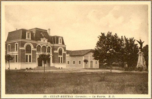 Gujan-Mestras autrefois : la nouvelle Mairie, la Salle des Fêtes et le Monument aux Morts, Bassin d'Arcachon (carte postale, collection privée)