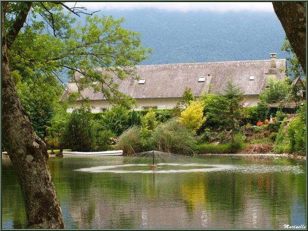Reflets et verdoyance au lac de la Pisciculture des Sources à Laruns, Vallée d'Ossau (64)