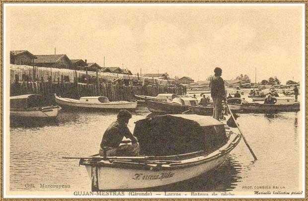 """Gujan-Mestras autrefois : (version ancienne) Pinasse de Dubuch """"L'Oiseau Blanc"""" rentrant au Port de Larros (darse principale), Bassin d'Arcachon (carte postale, collection privée)"""
