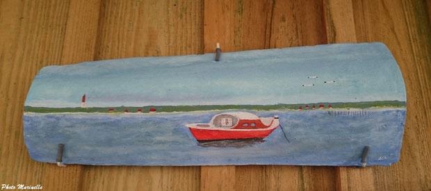 """JLA Artiste Peintre - """"Pinasse au mouillage au large du Cap Ferret"""" 014 - Peinture sur tuile ostréicole (Bassin d'Arcachon)"""
