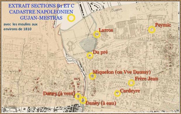 Gujan-Mestras autrefois : carte des anciens moulins à Gujan et Mestras aux environs de 1810, Bassin d'Arcachon (carte, collection privée)