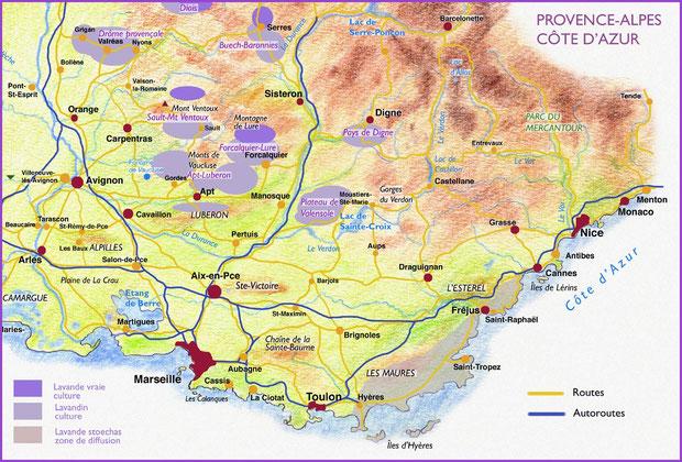 Carte géographique de situation de la lavande en Provence