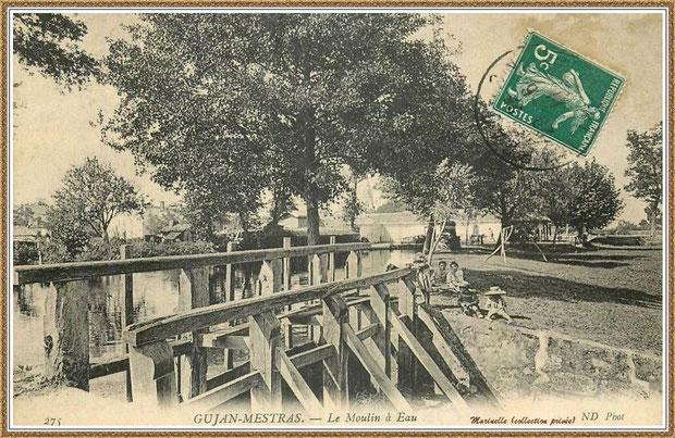 """Gujan-Mestras autrefois : en 1911, le Moulin à eau Daney au lieu-dit """"Bruge"""" , Bassin d'Arcachon (carte postale, collection privée)"""