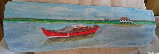 """JLA Artiste Peintre - """"Pinasse rouge et cabane tchanquée Ile aux Oiseaux"""" 015 - Peinture sur tuile ostréicole (Bassin d'Arcachon)"""