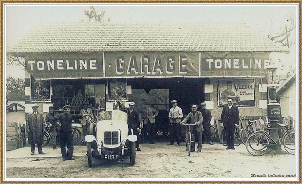 Gujan-Mestras autrefois : vers 1920, le garage de La Hume, Bassin d'Arcachon (photo, collection privée)