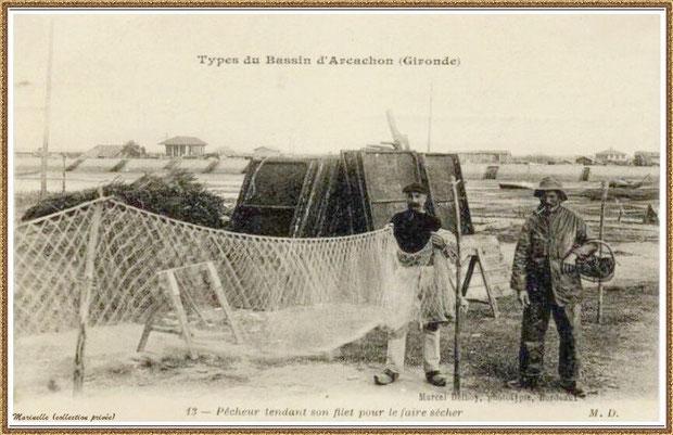 Pêcheur tendant son filet pour le faire sécher, Bassin d'Arcachon (33)