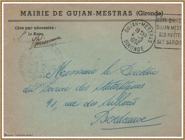 Gujan-Mestras autrefois : en 1952, une enveloppe d'un courrier adressé par la Mairie, Bassin d'Arcachon (collection privée)