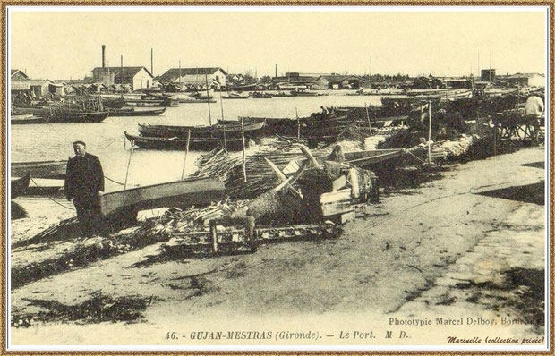 Gujan-Mestras autrefois : Darse principale du Port de Larros, Bassin d'Arcachon (carte postale, collection privée)