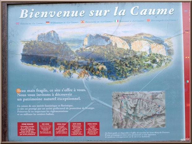 Panneau à l'entrée de La Caume (Alpilles, Bouches du Rhône)