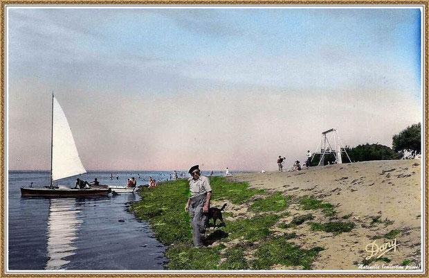 Gujan-Mestras autrefois : la plage de La Hume, pinassotte, canot, sport de plage, baignade, Bassin d'Arcachon (carte postale, collection privée)