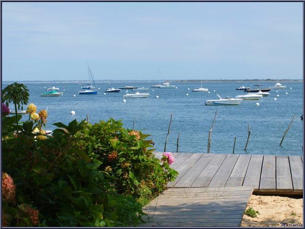 Vue sur le Bassin depuis la terrasse d'une maison en bordure de plage, Village de L'Herbe, Bassin d'Arcachon (33)
