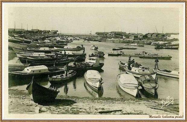 Gujan-Mestras autrefois : en 1948, darse principale du Port de Larros (avec la Jetée du Christ à l'horizon), Bassin d'Arcachon (carte postale, collection privée)