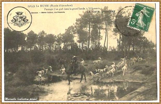 Gujan-Mestras autrefois : La Hume, passage à gué dans la grand'lande à Villemarie, Bassin d'Arcachon (carte postale, collection privée)