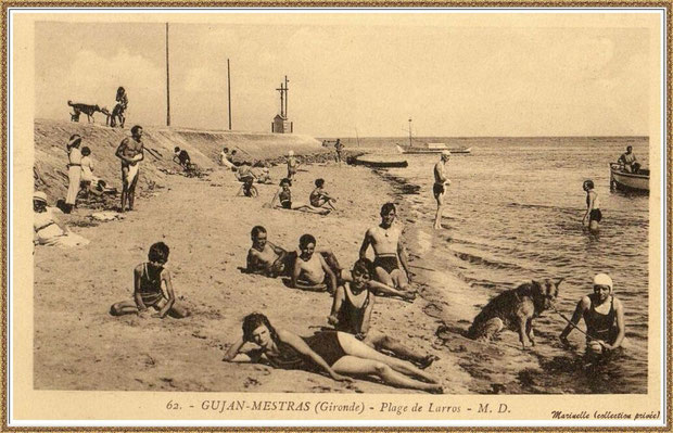 Gujan-Mestras autrefois : Plagistes à la Jetée du Christ au Port de Larros, Bassin d'Arcachon (carte postale, collection privée)