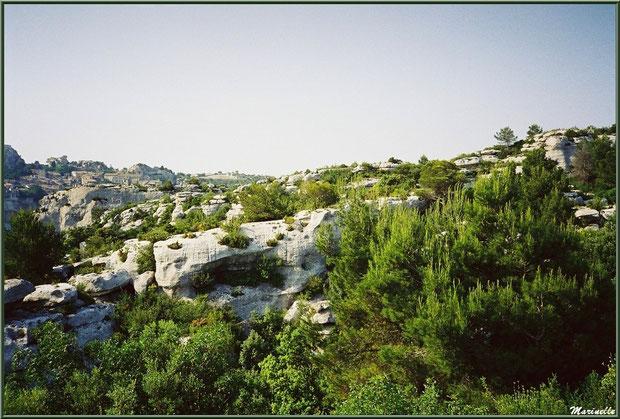 Le Val d'Enfer avec sa garrigue et à l'horizon le village des Baux-de-Provence, Alpille (13)