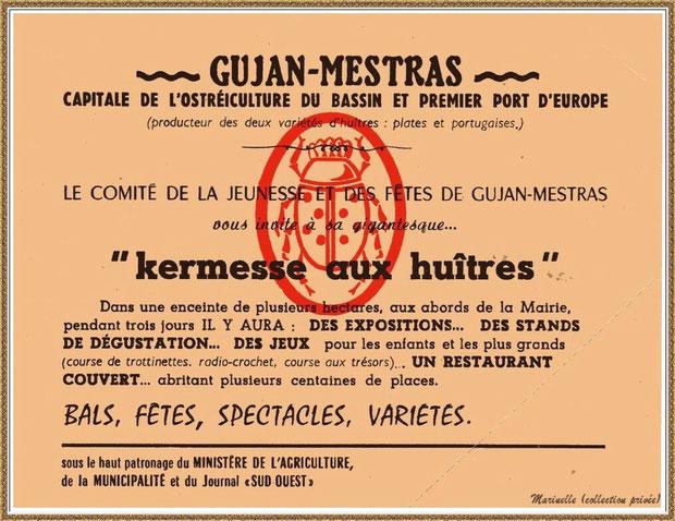 Gujan-Mestras autrefois : Une des invitations de la 1ère Foire aux Huîtres des 08, 09 et 10 août 1969, Bassin d'Arcachon (collection privée)