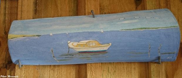 """JLA Artiste Peintre - """"Pinasse Lady"""" 002 - Peinture sur tuile ostréicole (Bassin d'Arcachon)"""