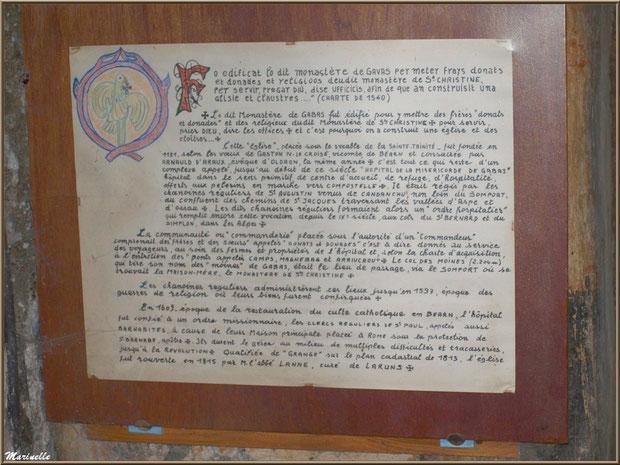 Panneau retraçant l'histoire de la chapelle du hameau de Gabas, Vallée d'Ossau (64)