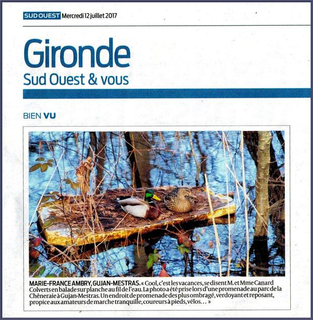 Photo Marinelle sur Journal Sud-Ouest, page Gironde, édition du 12/07/2017