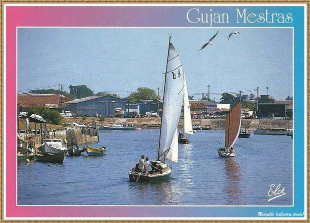 Gujan-Mestras autrefois : Pinasses, canots, pinasses à voile... dans la darse principale du Port de Larros, Bassin d'Arcachon (carte postale, collection privée)