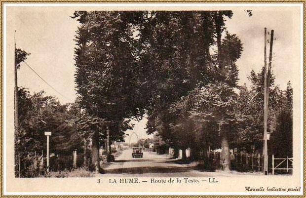 Gujan-Mestras autrefois : La Hume, Route de La Teste , Bassin d'Arcachon (carte postale, collection privée)