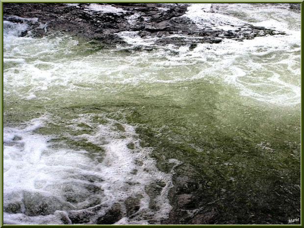 Eau bouillonnante en sortie d'une écluse sur le Canal des Landes au Parc de la Chêneraie à Gujan-Mestras (Bassin d'Arcachon)