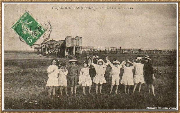 Gujan-Mestras autrefois : en 1916, l'Etablissement de Bains au Port de Gujan (ex Port de la Passerelle) à marée basse, Bassin d'Arcachon (carte postale, collection privée)