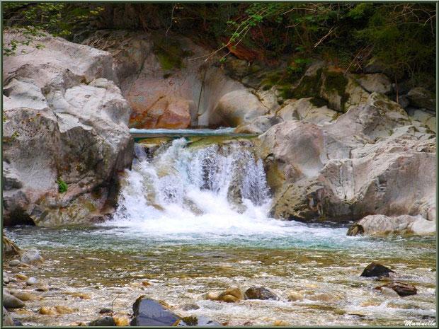 Et coule une petite cascade dans le Gave d'Ossau entre les Eaux-Chaudes et Gabas, Vallée d'Ossau (64